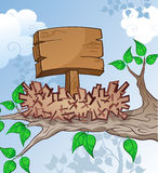 Wooden Sign in a Bird Nest Cartoon Stock Images