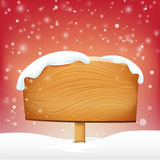 Wooden sign blank board and winter snow with copy space vector i Stock Photo