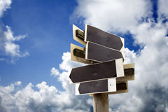 Wooden sign with blue sky Royalty Free Stock Photo