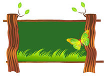 Wooden sign board. Nature wooden tree sign board. butterfly sitting on the board Stock Image