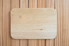 Wooden sign board blank frame on old wood background. Royalty Free Stock Image