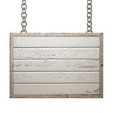 Wooden Sign Board on Chain  on White Background, Rectangular Board Royalty Free Stock Photography