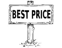 Wooden Sign Board Drawing with Best Price Text. Vector drawing of wooden sign board with business text best price Royalty Free Stock Images