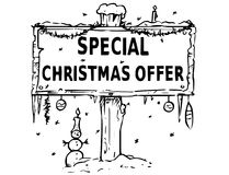 Wooden Sign Board Drawing with Special Christmas Offer Text Royalty Free Stock Photography