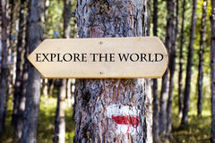 Wooden  sign board in the forest .Direction board Stock Image