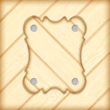 Wooden sign board frame on wooden planks background royalty free stock image
