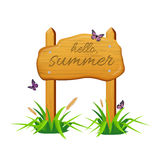 Wooden sign board with Hello, summer text. Vector illustration Stock Image