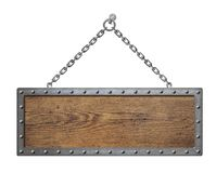 Wooden sign board with metal chain isolated Stock Image