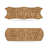 Wooden sign boards concept of new year of 2017 Royalty Free Stock Images