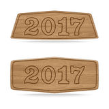 Wooden sign boards concept of new year of 2017 Royalty Free Stock Image