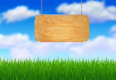 Wooden sign on a chain Stock Photos
