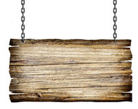 Wooden sign with chain. Close up of a wooden sign with chain on white background stock photo
