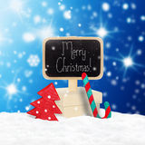 Wooden  sign and Christmas gift Stock Photos