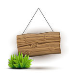 Wooden sign concept. Empty wooden sign hanging on a rope. Juicy grass. Plank of wood realistic illustration in natural colors and pseudo 3d. Vector illustration Royalty Free Stock Photo