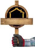 Wooden Sign for Construction Industry Stock Photo