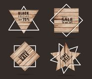 Wooden sign with creative sale banner modern layout template design royalty free stock photography