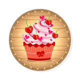 Wooden sign with cupcake with red cherries, pink Stock Images