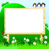 Wooden sign customizable Royalty Free Stock Image