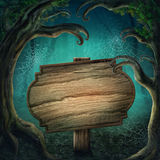 Wooden sign in the dark forest royalty free illustration