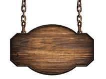 Wooden sign in dark wood hanging on a chain isolated. On white background Royalty Free Stock Photos