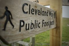 Wooden Sign Directing Walkers - Cleveland Way Stock Photo