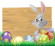 Wooden sign Easter bunny Royalty Free Stock Images