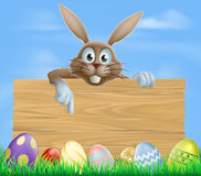 Wooden sign Easter bunny and eggs Royalty Free Stock Images