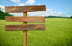 Wooden sign on field grass. Mountain Royalty Free Stock Image