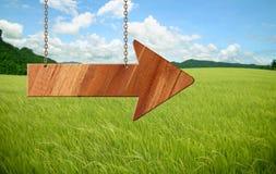 Wooden sign on field grass Stock Photos