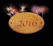 Wooden sign of 2016 fireworks. Royalty Free Stock Images