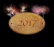Wooden sign of 2017 fireworks. Stock Photos