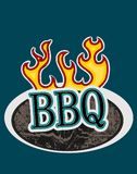 Wooden sign with flames BBQ. BBQ on a wooden sign with flames, vector illustration, retro sticker or badge Stock Photography