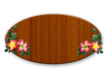 The wooden sign with flowers. On white background Stock Images