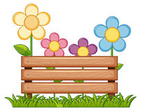 Wooden sign with flowers in garden Stock Photos