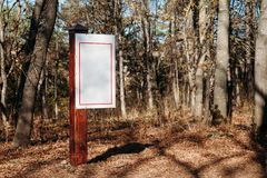 Wooden sign in forest. mockup royalty free stock photography
