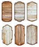 Wooden sign frame border vintage label design. Isolated on white background Stock Images