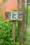 Wooden sign giving garden plot number Stock Image