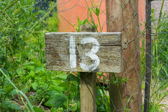 Wooden sign giving garden plot number Stock Photography