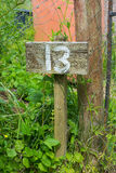Wooden sign giving garden plot number Royalty Free Stock Photography