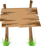Wooden sign on a grass. Vector illustration Stock Photo