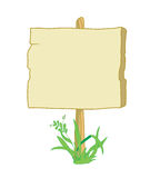 Wooden_sign_with_grass. Wooden sign with field for instructions and grass Stock Illustration