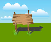 Wooden sign on a grass, vector Stock Photo