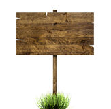 Wooden sign in green grass stock illustration