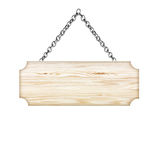 Wooden sign hanging on a chain isolated on white Stock Photo