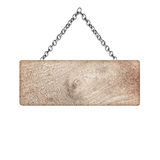 Wooden sign hanging on a chain isolated on white Stock Photography