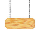 Wooden sign hanging on a chain isolated on white  background Royalty Free Stock Photo