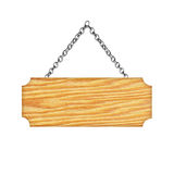 Wooden sign hanging on a chain isolated on white  background Stock Images