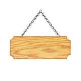 Wooden sign hanging on a chain isolated on white  background Royalty Free Stock Image