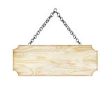 Wooden sign hanging on a chain isolated on white background Stock Image