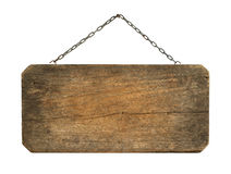 Wooden sign hanging Stock Photography